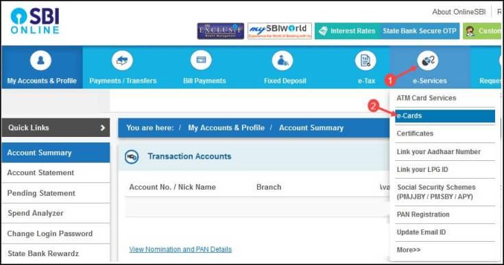 click e-service and select e-cards option