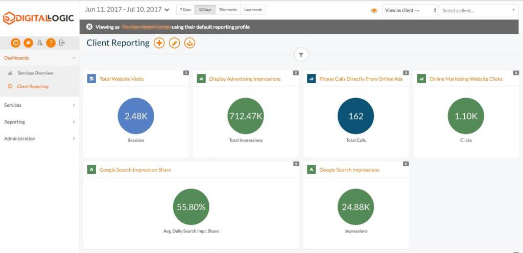 Small business online marketing reporting dashboard by Digital Logic