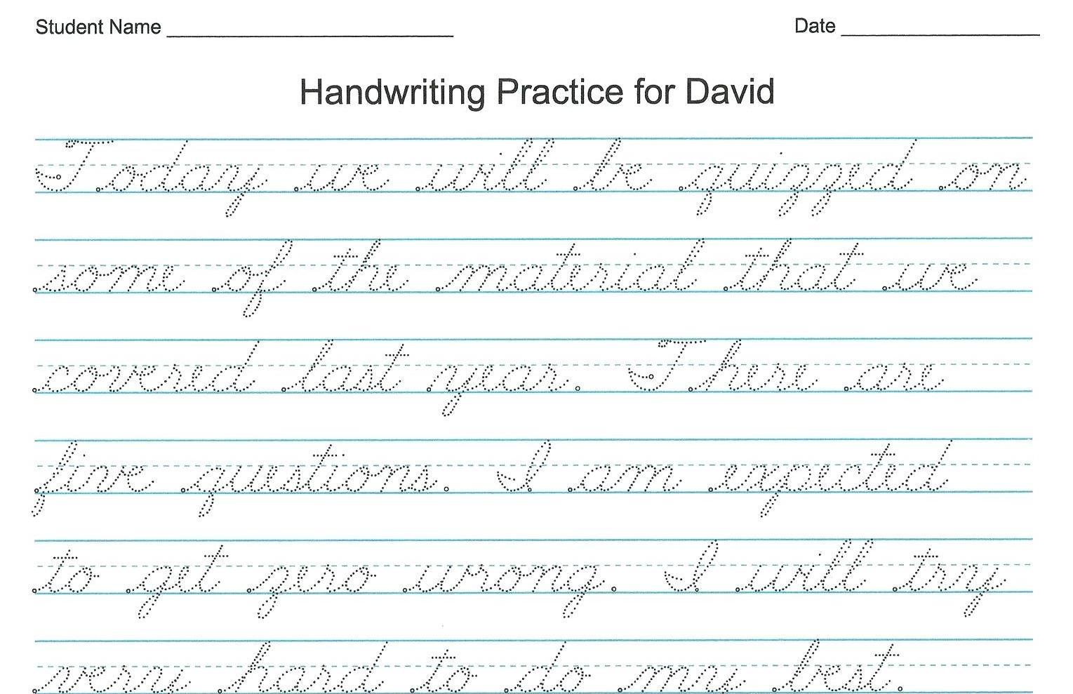 English Cursive Handwriting Alphabet Sheets