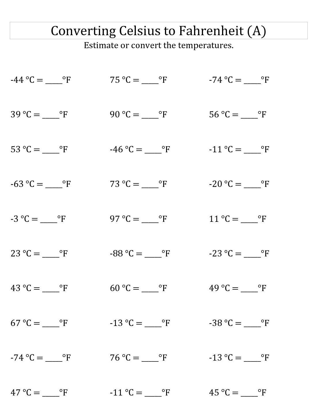 Celsius To Fahrenheit Chart Conversion