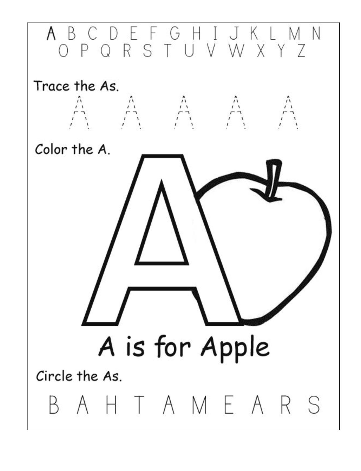 Printable Letter A Worksheets For Kindergarten
