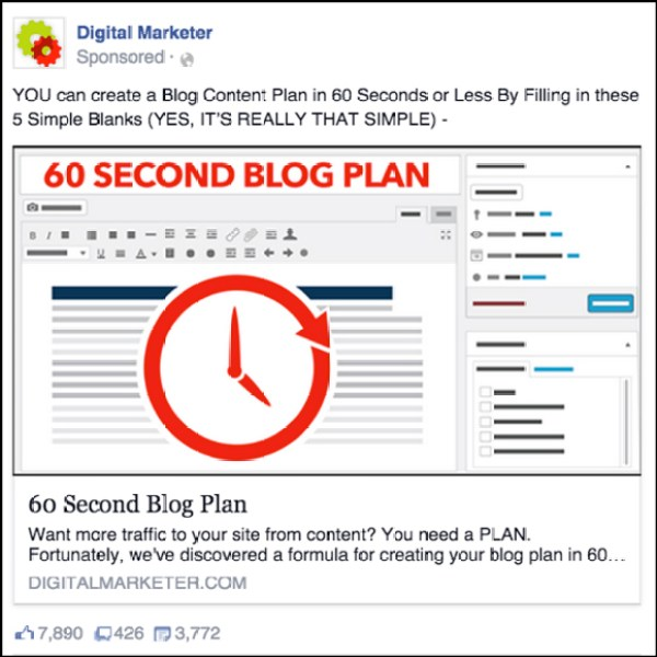 60-Second Blog Plan Facebook ad