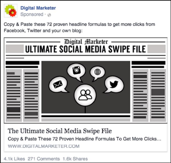 Ultimate Social Media Swipe File Facebook ad from 2015