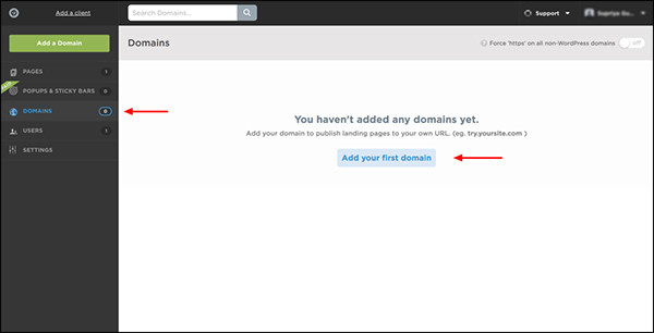 image shows you how to add your own domain
