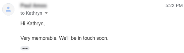 Client's email response that they'll be in touch soon