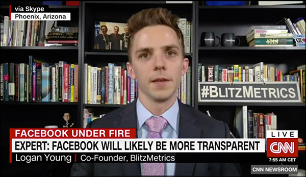 Logan Young live on CNN to discuss Cambridge Analytica and Zuckerberg's Congressional hearing
