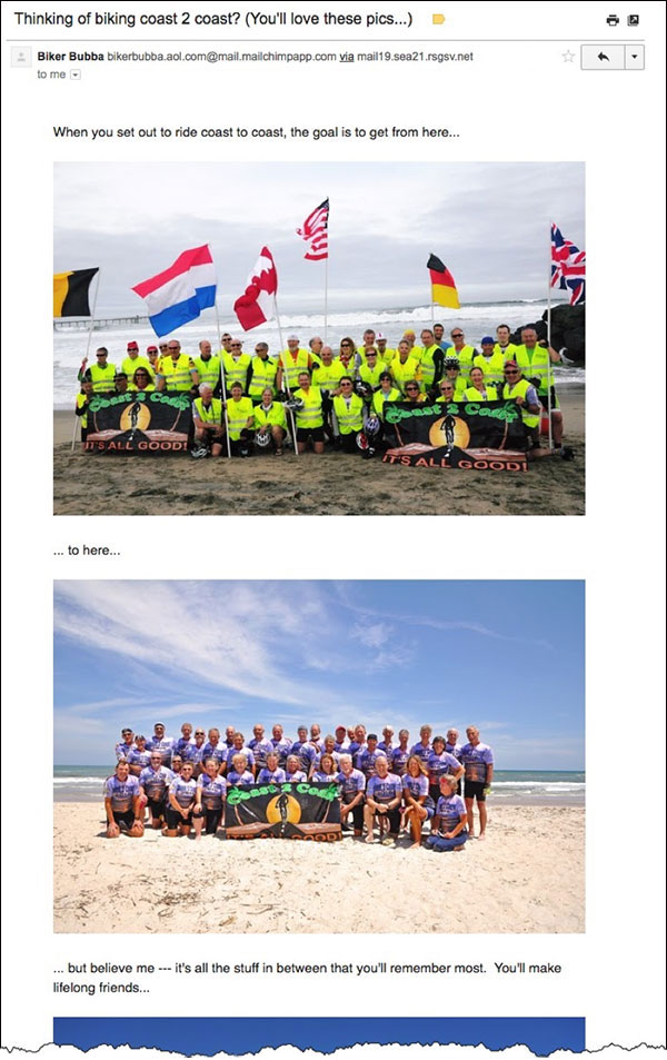 Email heavy with images showing the bike tour  14 Digital Marketing Experts Share Their Marketing Home Run of 2018 digital marketing home run img20