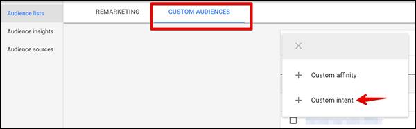 Under Custom Audiences chose to create a custom intent audience  14 Digital Marketing Experts Share Their Marketing Home Run of 2018 digital marketing home run img36