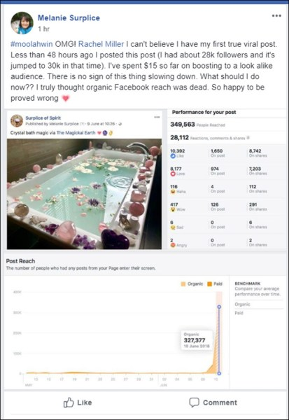 A Facebook post talking about a blog post generating 327,377 organic reach on Facebook