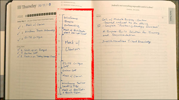 Picture of Ryan's written journal
