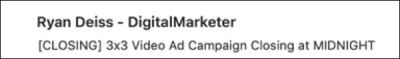 A DM email subject line with good copywriting