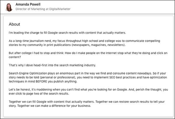 Amanda Powell's LinkedIn Summary