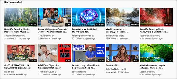 YouTube Recommendations based on an AI algorithm