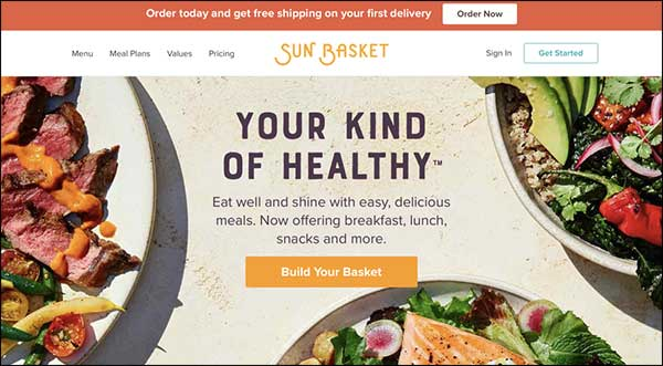 Sun Basket landing page with image consistency