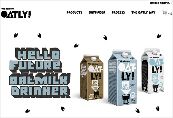 Oatly's above the fold content on their landing page
