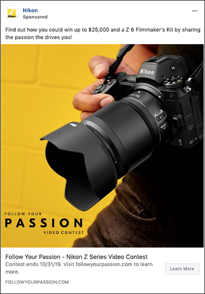 Nikon ad for Find your Passion Contest to show evolution of marketing messaging