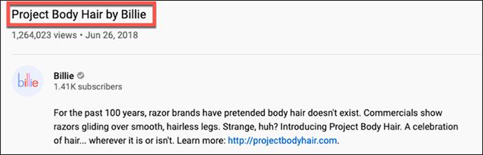 Project Body Hair by Billie video description
