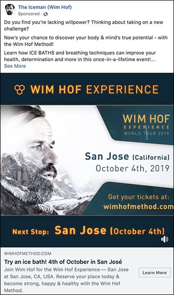 Wim Hof ad that could be adapted for a holiday ad