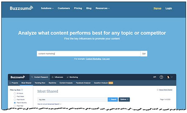 Buzzsumo's homepage with their search feature for analyzing best performing content
