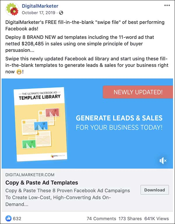 DigitalMarketer newsfeed ad for our Ultimate Facebook Ad Template Library