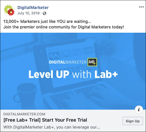 DigitalMarketer newsfeed ad to Level Up with Lab+