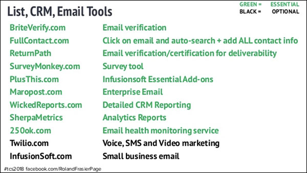 list, crm, and email tools