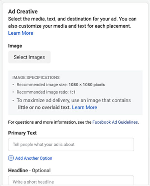 The ad creative options on Facebook Ads Manager