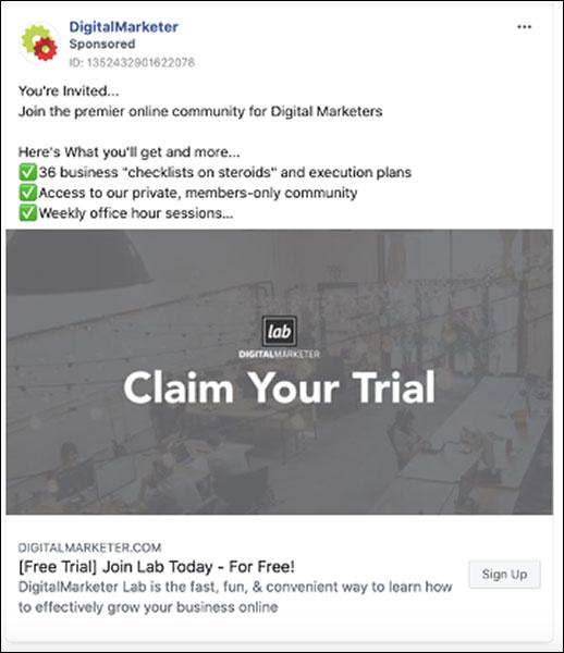 The DigitalMarketer Claim Your Trial Facebook ad