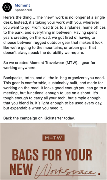 an ad for Moment for a kickstarter for travel gear for working