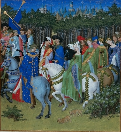 The May calendar image from the Très Riches Heures of Jean duc de Berry showing a mounted party of aristocrats, their dogs and servants with trumpets, many carrying greenery, in a May procession.