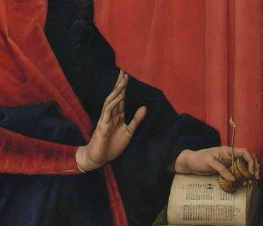 "Detail from Hans Memling Annunciatior showing a ""book light"""