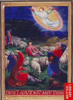 BL Add. Ms 34294, f.91Sforza Hours Annunciation to the Shepherds