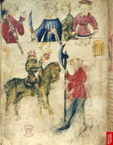 image from the British Library's Cotton_Nero_-AX_f.90v showing the Green Knight on his green horse holding his severed head in one hand and Gawain with the axe, standing before the dais where Arthur, and the Queen sit