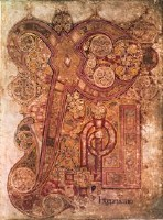 image of F. 34R from the Book of Kells showing the Chi-Rho page, an elaborate illuminated page showing the first letters of Christ's name (Chi, Rho, Iota) from Matthew.