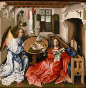 Robert Campin Mérode Altarpiece central panel c. 1425–1428 The Cloisters Museum