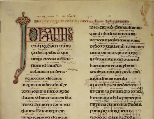 Detail of the top of f. 203v of the Book of Lindisfarne showing interlinear Old English glosses