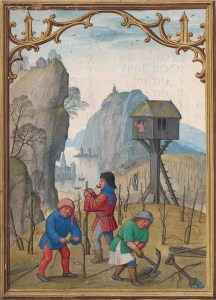 Detail from the February calendar page of the Da Costa Hours showing men pruning the vines
