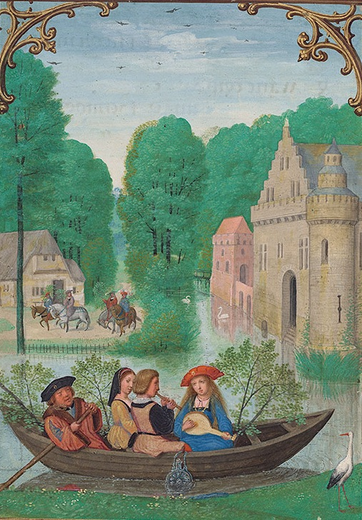 Da Costa Hours May calendar page showing a landscape with people in a boat playing musical instruments with greenery behind them in the boat, and people on horseback in the distance, carrying green boughs.