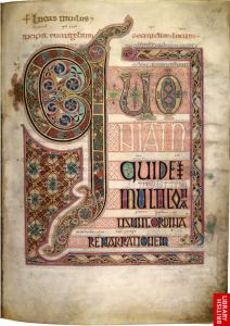 an image of the incipit of the Gospel of Luke from the Lindisfarne Gospels showing the elaborate illumination of the first few words of the Latin text