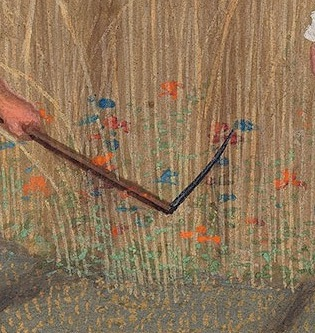 Detail from Morgan Library MS M.399, fol. 9v The Da Costa Hours showing flowers growing between stalks of wheat