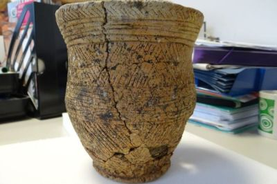 Decorated pottery Beaker found with Ava.