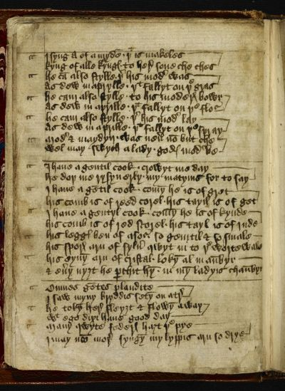 Image of British Library MS. Sloane 2593 f.10v Showing I Syng of A Mayden at the top