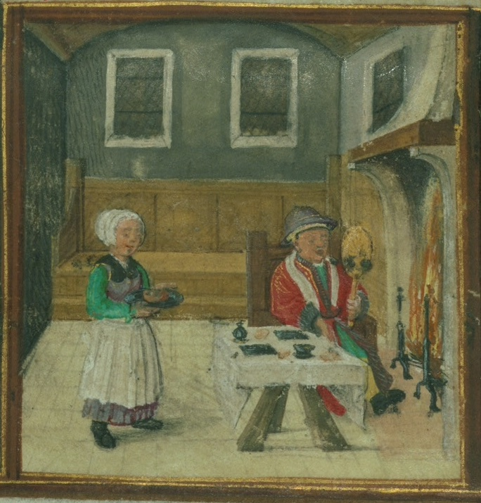 January calendar image from Walters Museum W.425 showing a man seated before a fire, with a table in front of him. He holds a mirror. A female servant brings a tray of food to the table.