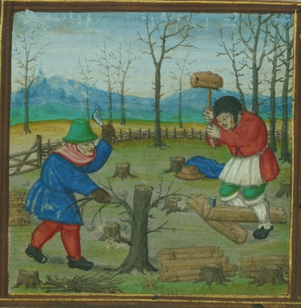Detail from Walters MS. W.425 fol. 2r showing two men cutting wood, one trimming a stump the other splitting a log with a maul and wedge.