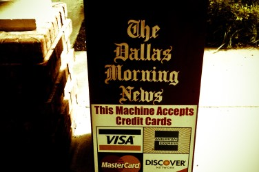 newspaper stands - accepts credit cards