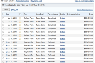 Paypal and iTunes glitch charges me 7 times