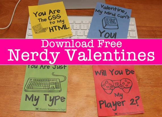 Printable Nerdy Valentines Day Cards
