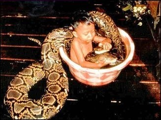 snake in bath with baby