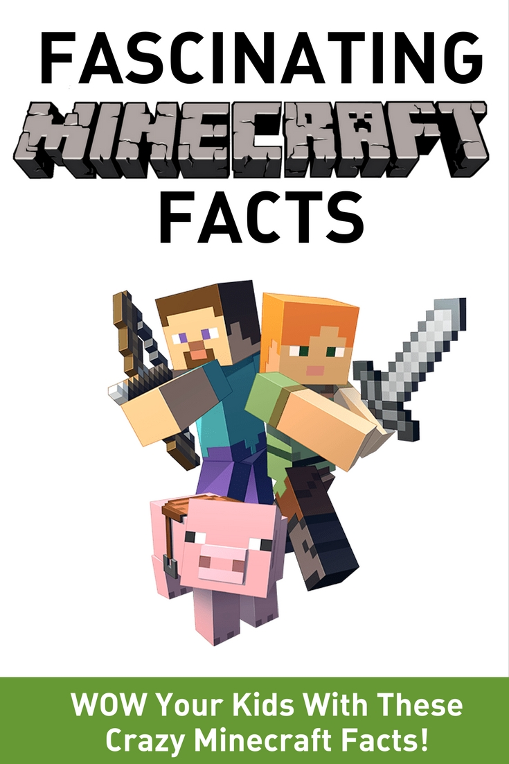 Fascinating Minecraft Facts - wow your kids with these crazy minecraft facts image with minecraft characters and pig from game