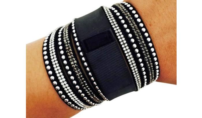 TINLEY Rhinestone Studded Snap Fitbit Black Bracelet